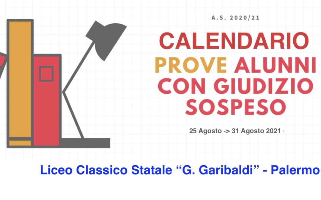 Calendario Prove Alunni con Giudizio Sospeso